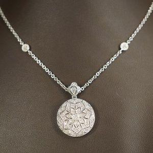 "14KW Gold Genuine Diamond Locket 16"" Necklace"